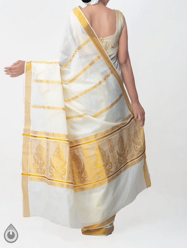 Off White Pure Kerala Kasavu Cotton Saree-UNMP32744
