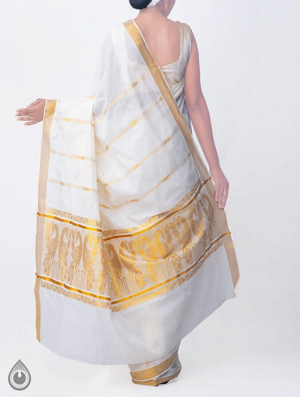 Off White Pure Kerala Kasavu Cotton Saree-UNMP32749