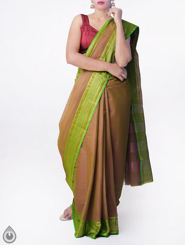 Brown Pure Handloom Chettinad Cotton Saree with Tassels-UNMP32759