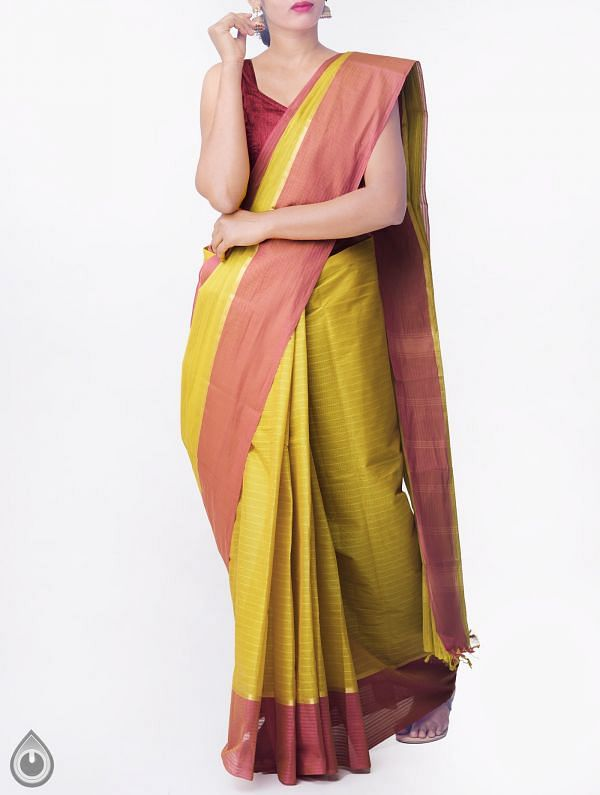 Online Shopping for Green Pure Handloom Chettinad Cotton Saree with Tassels with Weaving from Tamilnadu at Unnatisilks.comIndia