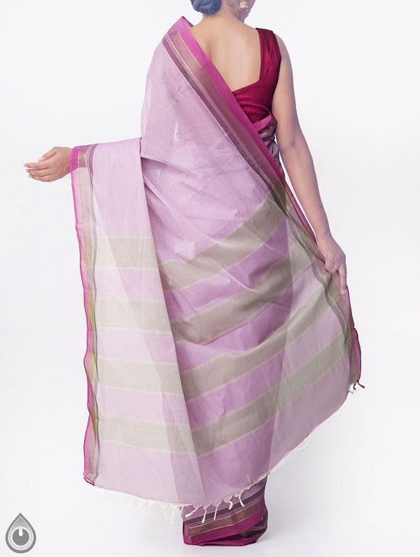 Pink Pure Handloom Kanchi Cotton Saree with Tassels-UNMP32763