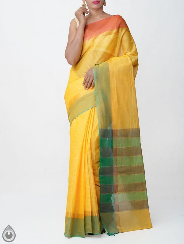 Online Shopping for Yellow Pure Handloom Chettinad Cotton Saree with Weaving from Tamilnadu at Unnatisilks.comIndia