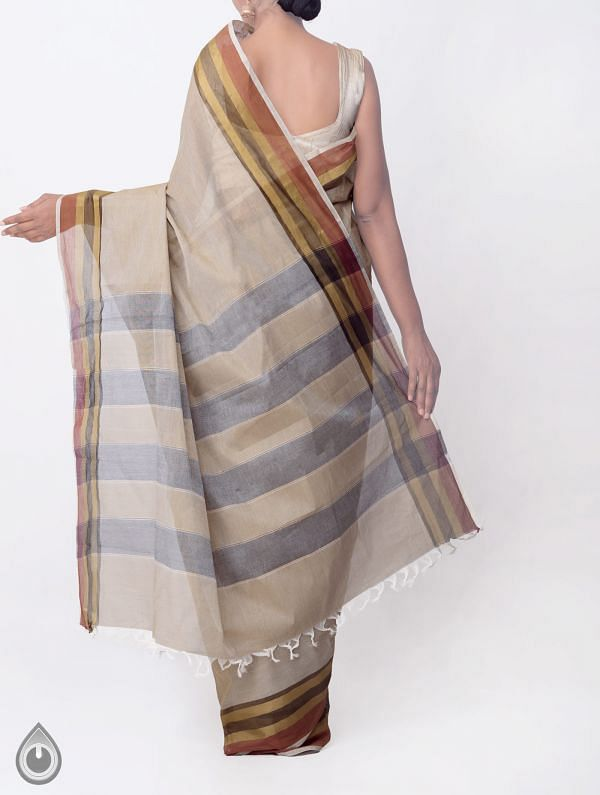Brown Pure Handloom Kanchi Cotton Saree with Tassels-UNMP32768