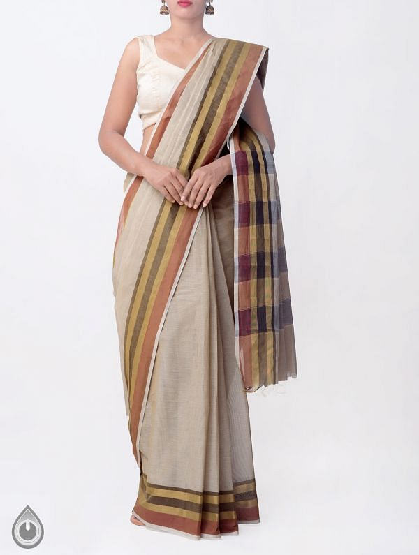 Online Shopping for Brown Pure Handloom Kanchi Cotton Saree with Tassels with Weaving from Tamilnadu at Unnatisilks.comIndia