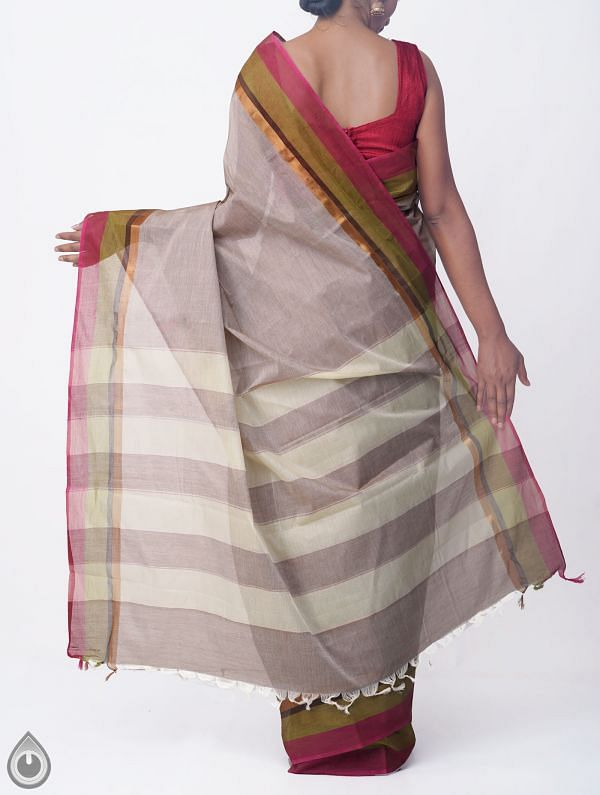 Grey Pure Handloom Kanchi Cotton Saree with Tassels-UNMP32769