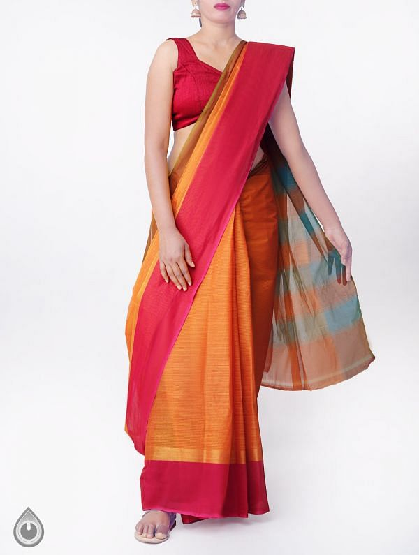 Online Shopping for Orange Pure Handloom Chettinad Cotton Saree with Tassels with Weaving from Tamilnadu at Unnatisilks.comIndia