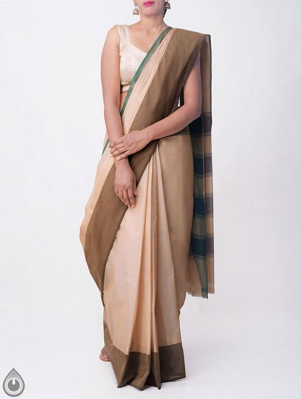 Online Shopping for Pastel Yellow Pure Handloom Chettinad Cotton Saree with Tassels with Weaving from Tamilnadu at Unnatisilks.comIndia