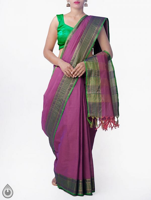 Online Shopping for Purple Pure Handloom Chettinad Cotton Saree with Tassels with Weaving from Tamilnadu at Unnatisilks.comIndia