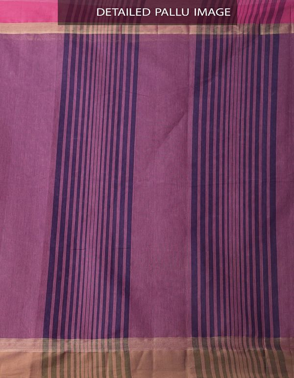 Purple Pure Handloom Kanchi Cotton Saree with Tassels-UNMP32783