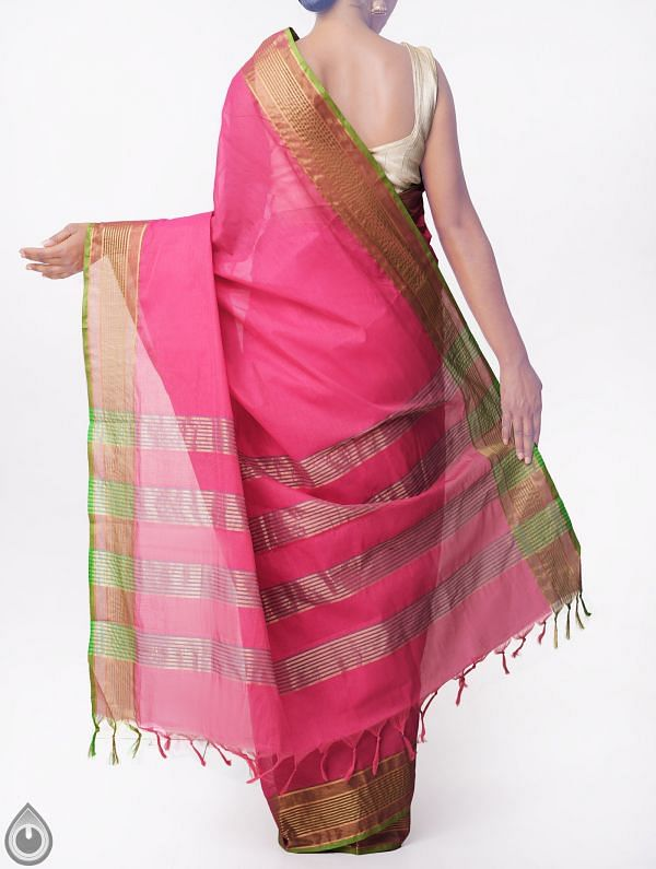 Pink Pure Handloom Chettinad Cotton Saree with Tassels-UNMP32784