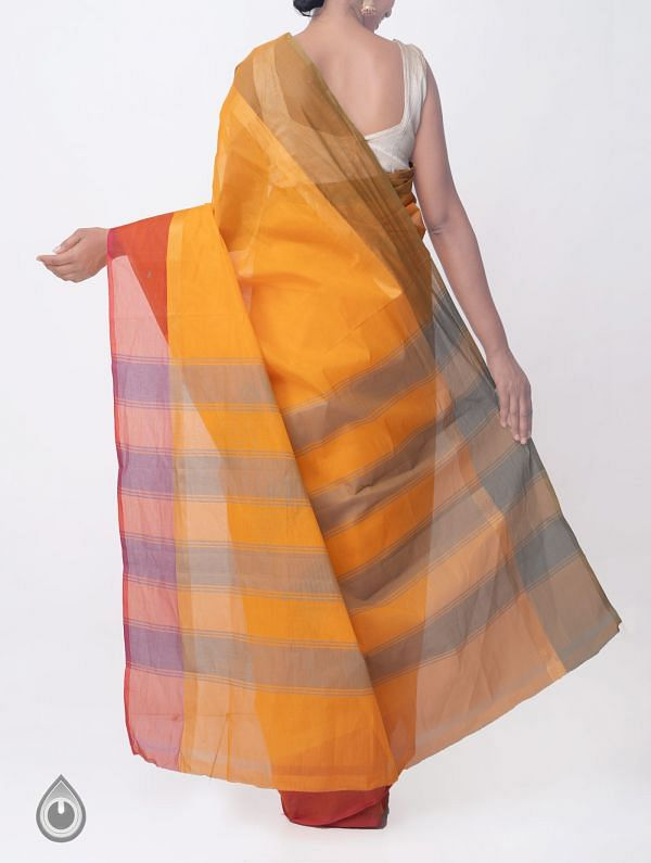 Orange Pure Handloom Kanchi Cotton Saree with Tassels-UNMP32785