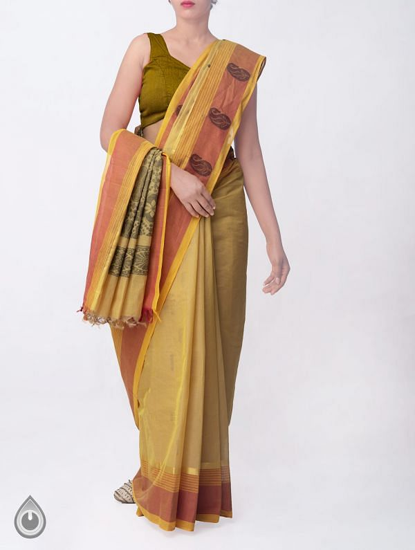 Online Shopping for Yellow Pure Handloom Uppada Cotton Saree with  Weaving from Andhra Pradesh at Unnatisilks.comIndia