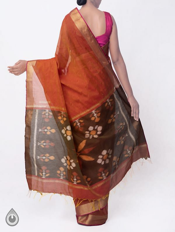 Orange Pure Handloom Coimbatore Cotton Silk Saree with Tassels-UNMP32801