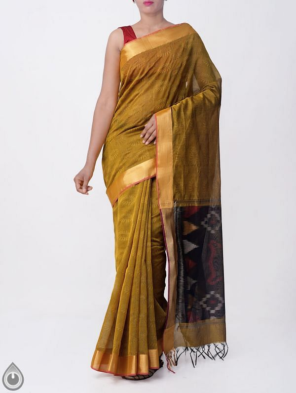 Online Shopping for Green Pure Handloom Coimbatore Cotton Silk Saree with Jacquard Weaving from Tamilnadu at Unnatisilks.comIndia