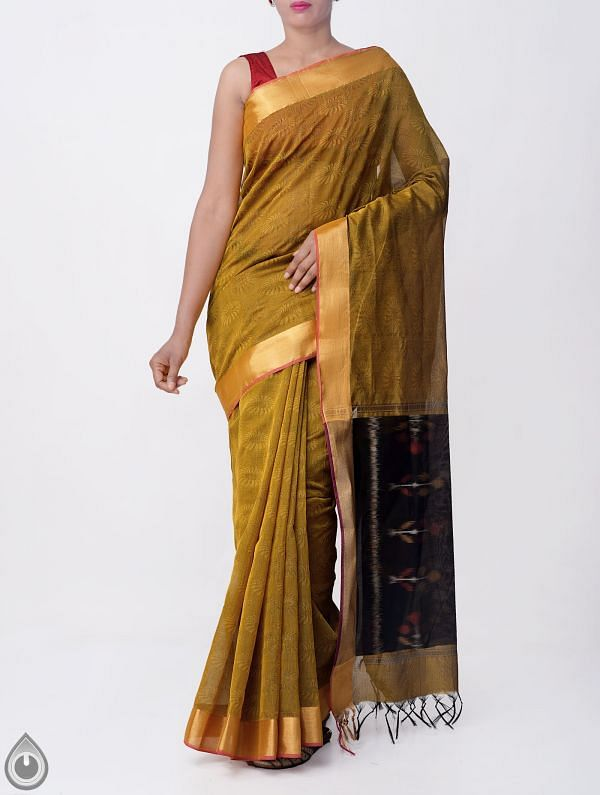Yellow Pure Handloom Coimbatore Cotton Silk Saree with Tassels-UNMP32806