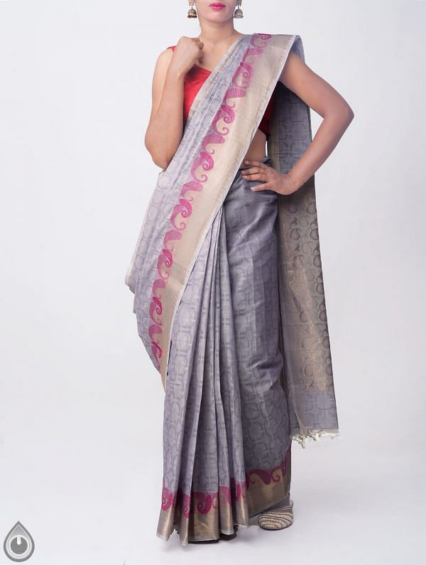 Grey Pure Handloom Mysore Jacquard Cotton Saree with Tassels-UNMP32811