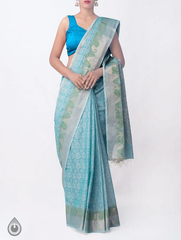 Online Shopping for Blue Pure Handloom Mysore Jacquard Cotton Saree with Tassels with Jacquard Weaving from Karnataka at Unnatisilks.comIndia