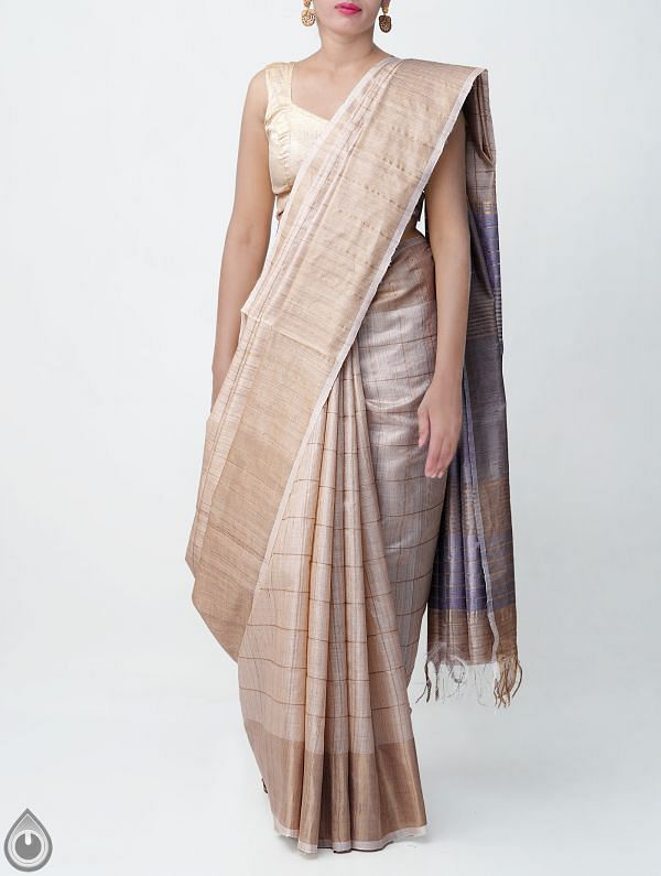 Online Shopping for Beige Pure Handloom Muga Tussar Silk Checks Saree With Tassels with Weaving from Chattisgarh  at Unnatisilks.comIndia