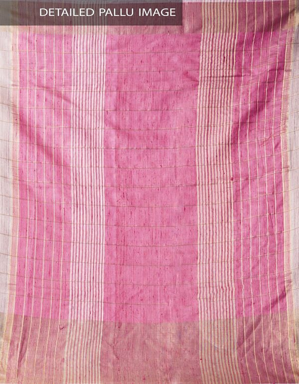 Beige Pure Handloom Muga Tussar Silk Checks Saree With Tassels-UNM32818