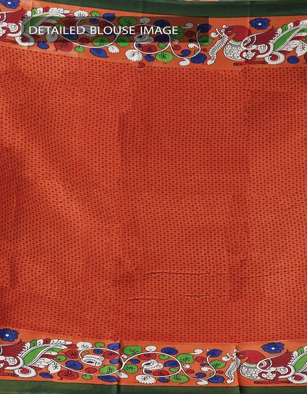Green-Orange Ikat Printed Pochampally Kalamkari Art Silk Saree-UNMP23820