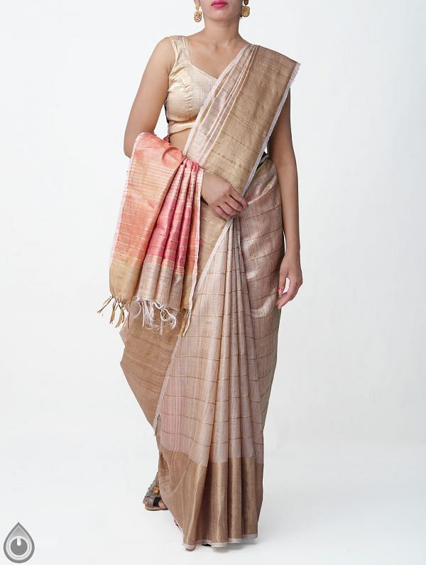 Beige Pure Handloom Muga Tussar Silk Checks Saree With Tassels-UNM32820
