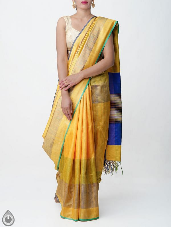 Yellow Pure Handloom Muga Tussar Silk Saree With Tassels-UNM32823