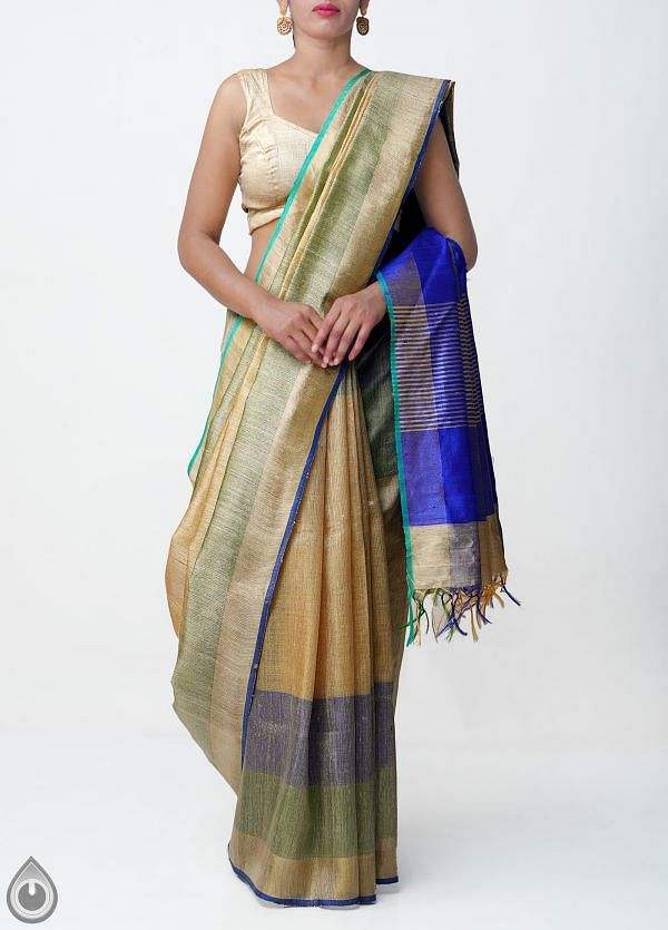 Beige Pure Handloom Muga Tussar Silk Saree With Tassels-UNM32826