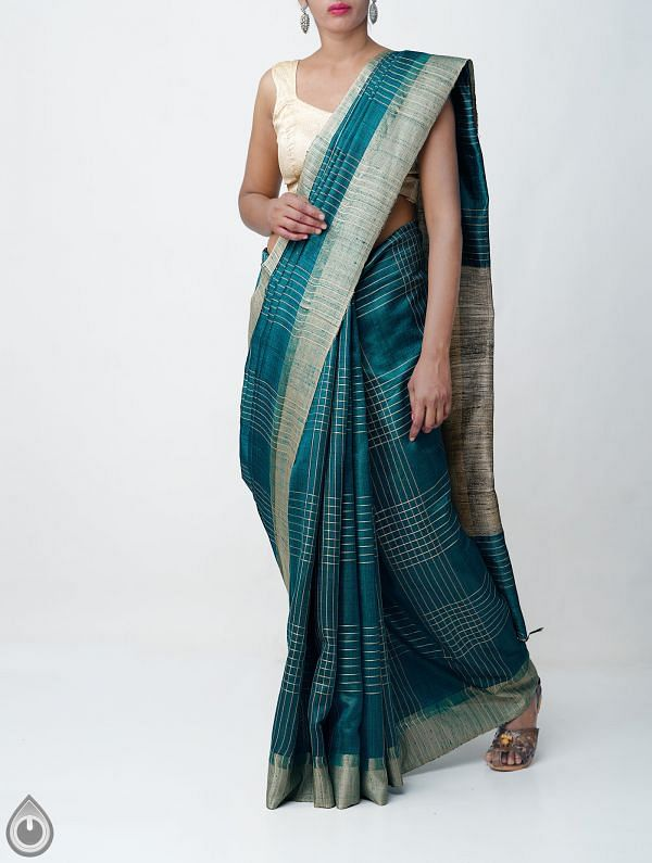 Online Shopping for Green Pure Handloom Muga Tussar Silk Checks Saree With Tassels with Weaving from Chattisgarh  at Unnatisilks.comIndia