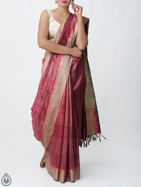 Pink Pure Handloom Muga Tussar Silk Checks Saree With Tassels-UNM32831