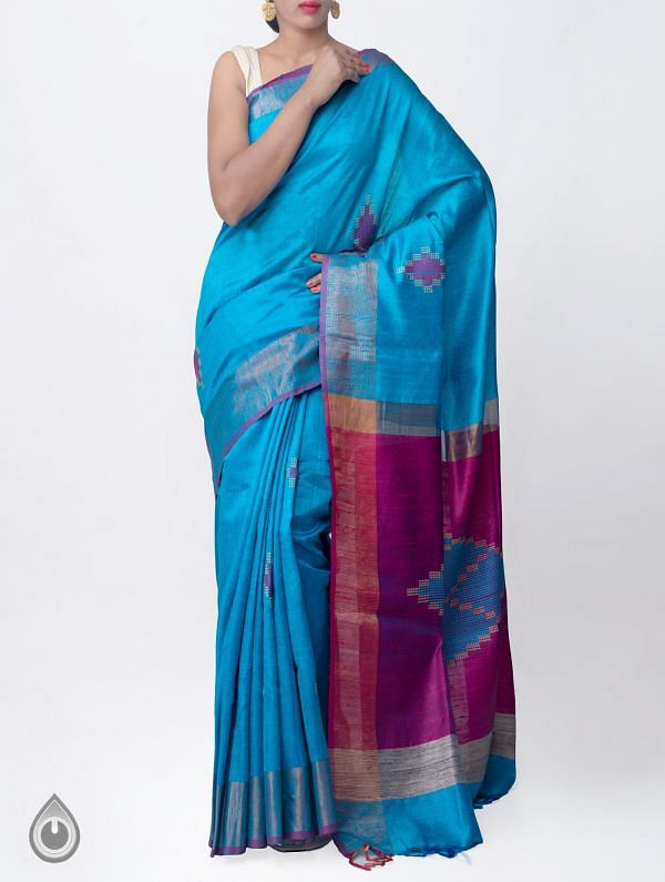 Online Shopping for Blue Pure Handloom Muga Tussar Silk Saree With Tassels with Weaving from Chattisgarh  at Unnatisilks.comIndia