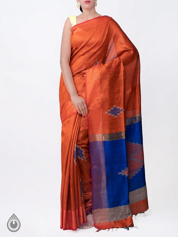 Orange Pure Handloom Muga Tussar Silk Saree With Tassels-UNM32835