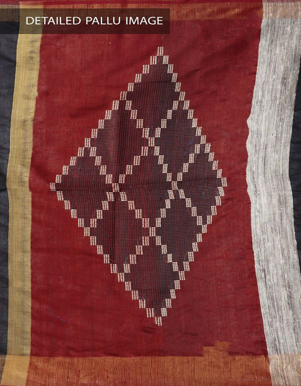 Online Shopping for Black Pure Handloom Muga Tussar Silk Saree With Tassels with Weaving from Chattisgarh  at Unnatisilks.comIndia