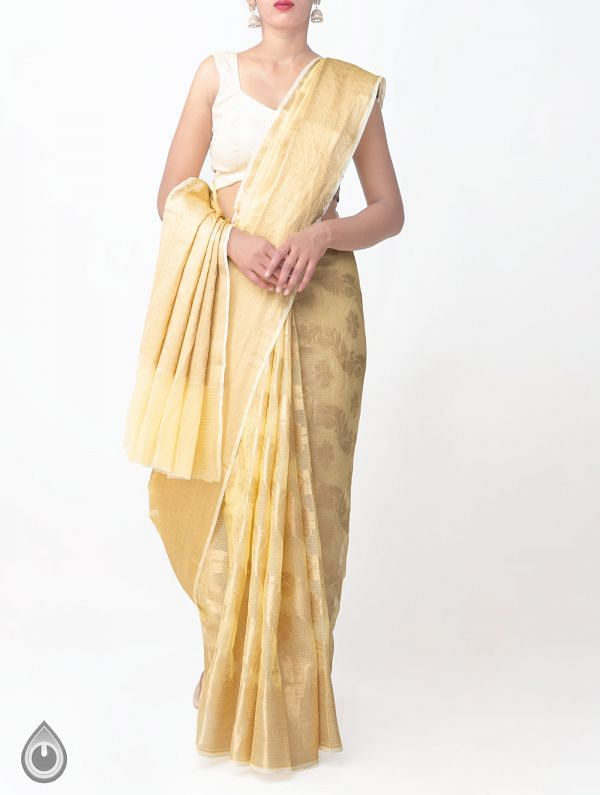 Yellow Banarasi Kota Saree-UNMP32842