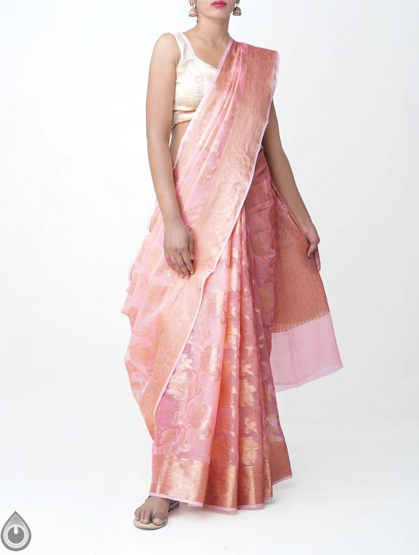 Online Shopping for Pink Banarasi Kota Saree with Weaving from Rajasthan at Unnatisilks.comIndia