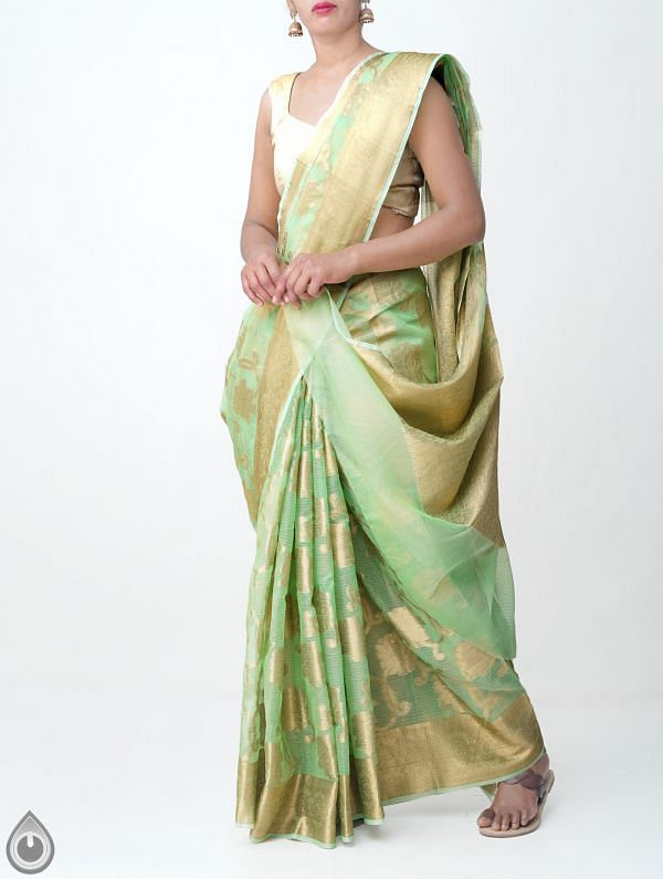 Online Shopping for Green Banarasi Kota Saree with Weaving from Rajasthan at Unnatisilks.comIndia
