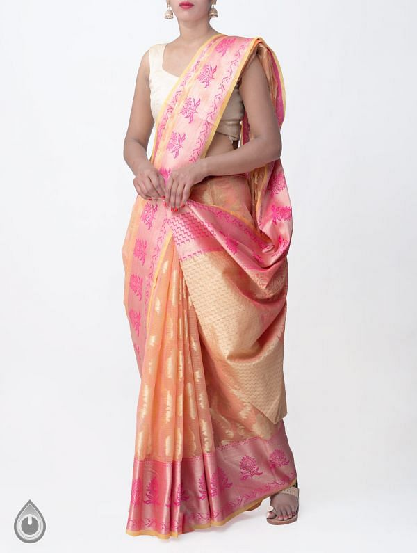 Online Shopping for Orange-Pink Banarasi Kota Saree with Weaving from Rajasthan at Unnatisilks.comIndia