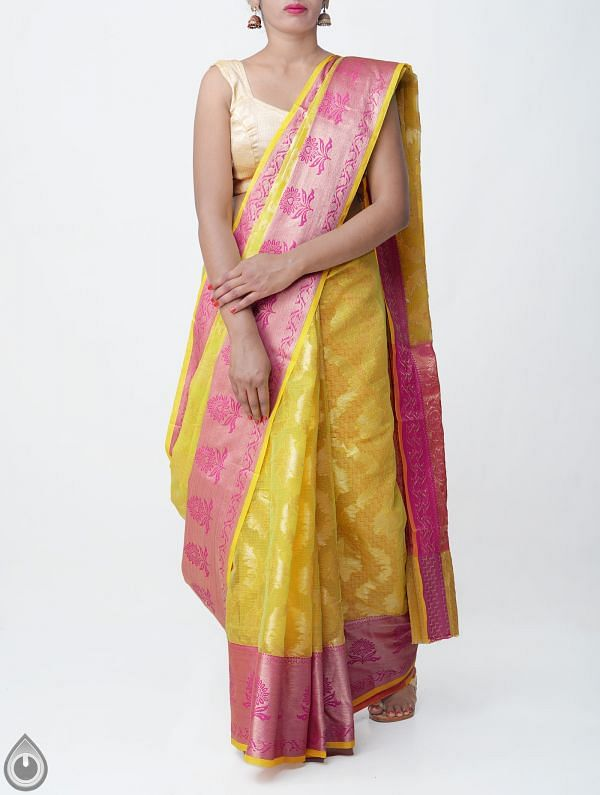 Yellow Banarasi Kota Saree-UNMP32856