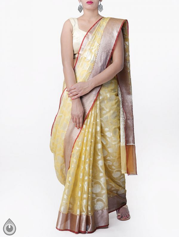 Yellow Banarasi Kota Saree-UNMP32865