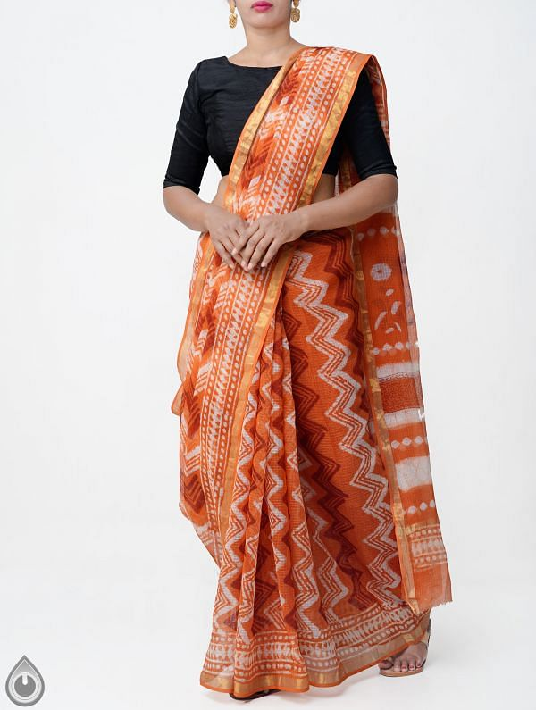 Online Shopping for Orange Pure Kota Cotton Saree With Dabu Prints with Dabu prints from Rajasthan at Unnatisilks.comIndia