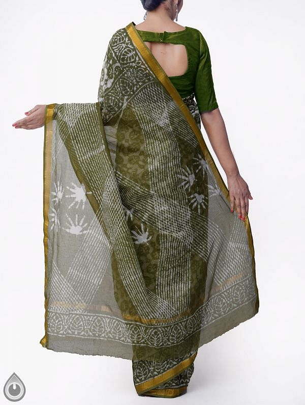 Green Pure Kota Cotton Saree With Dabu Prints-UNMP32878