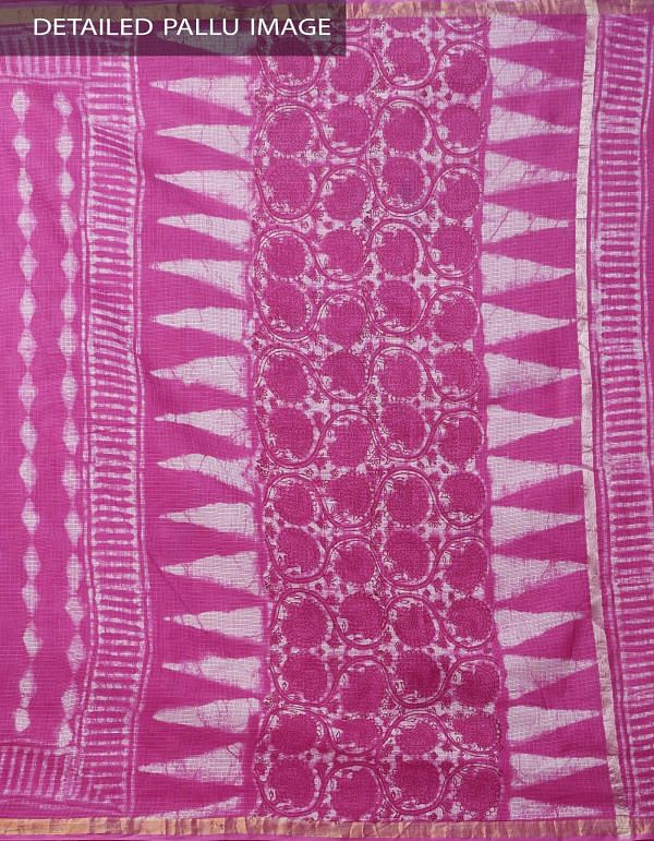 Pink Pure Kota Cotton Saree With Dabu Prints-UNM32893