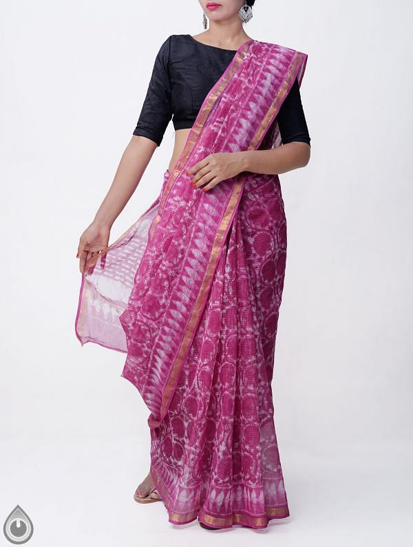 Online Shopping for Pink Pure Kota Cotton Saree With Dabu Prints with Dabu prints from Rajasthan at Unnatisilks.comIndia