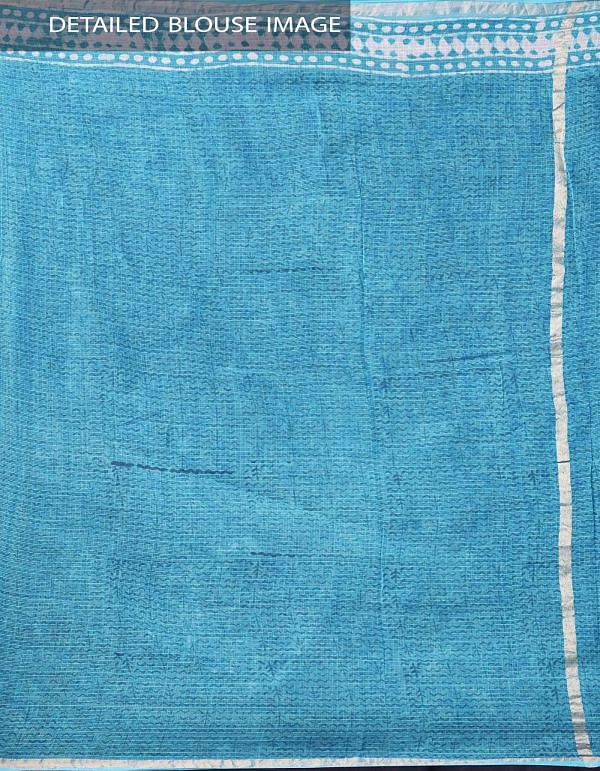 Blue Pure Kota Cotton Saree With Dabu Prints-UNMP32902