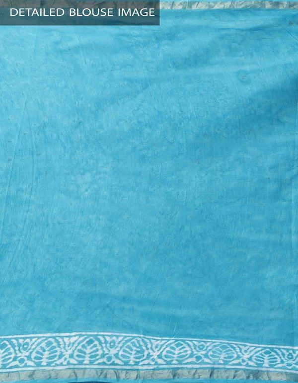 Blue Pure Kota Cotton Saree With Dabu Prints-UNMP32903