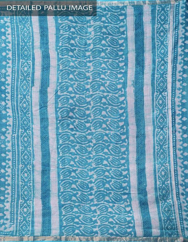 Blue Pure Kota Cotton Saree With Dabu Prints-UNMP32904