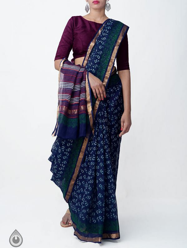 Online Shopping for Indigo Blue Pure Kota Cotton Saree With Napthal Prints with Napthal prints from Rajasthan at Unnatisilks.comIndia