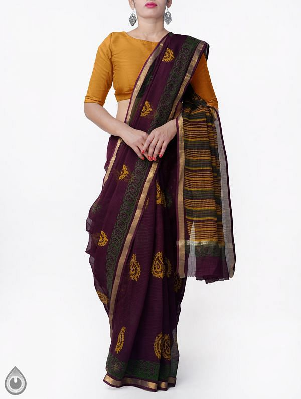Burgundy Pure Kota Cotton Saree With Napthal Prints-UNMP32918