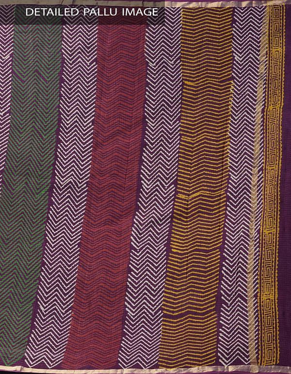 Burgundy Pure Kota Cotton Saree With Napthol Prints-UNMP32920