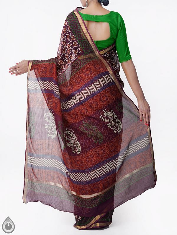 Purple Pure Kota Cotton Saree With Napthol Prints-UNMP32921