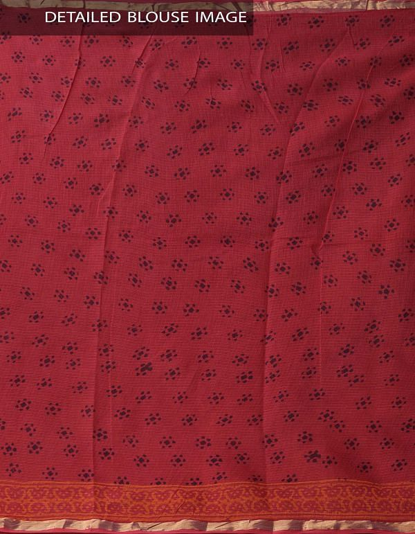 Online Shopping for Red Pure Kota Cotton Saree With Napthal Prints with Napthal prints from Rajasthan at Unnatisilks.comIndia